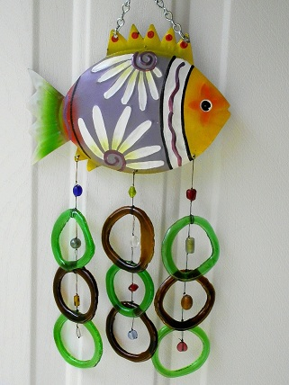 Yellow & Gray Fish with Green & Brown Rings - Glass Wind Chimes