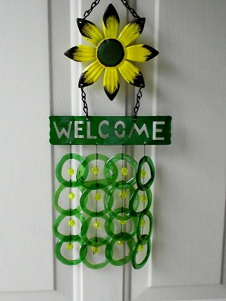 Welcome Yellow Flower with Green Rings - Glass Wind Chimes