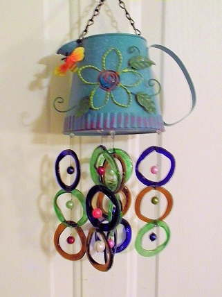 Blue Water Can with Multi Colored Rings - Glass Wind Chimes
