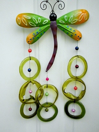 Dragon Fly with Green Rings - Glass Wind Chimes