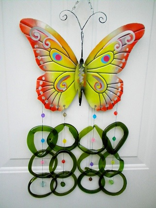 Yellow & Orange Butterfly with Green Rings - Glass Wind Chimes