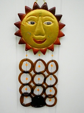 Sun Face with Brown Rings - Glass Wind Chimes