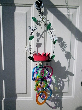 Bird Feeder with Multi Colored Rings - Glass Wind Chimes