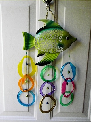 Green Fish with Multi Colored Rings - Glass Wind Chimes