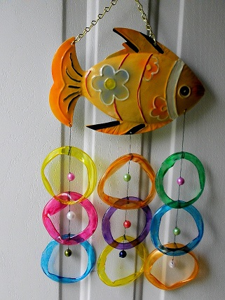 Orange Fish with Multi Colored Rings - Glass Wind Chimes