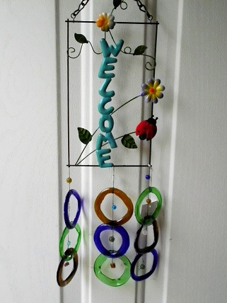 Welcome GBB with Multi Colored Rings - Glass Wind Chimes