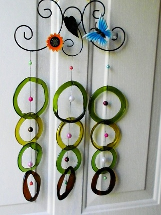 Blue Butterfly with Green & Brown Rings - Glass Wind Chimes