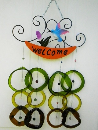 Welcome Blue Humming Bird with Green & Brown Rings - Glass Wind Chimes