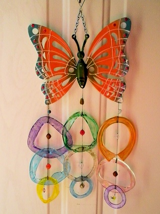 Orange Butterfly with Multi Colored Rings - Glass Wind Chimes