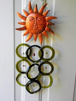 Bronz Sun With Green & Blue Rings - Glass Wind Chimes