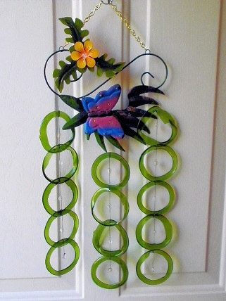 Blue Butterfly with Green Rings - Glass Wind Chimes