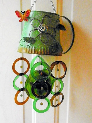 Green Watering Can with Green & Brown Rings & Yellow Bell - Glass Wind Chimes