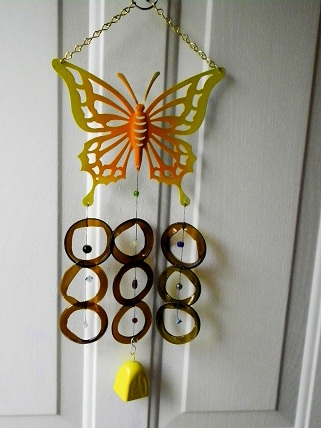 Yellow Butterfly with Green Rings & Yellow Bell - Glass Wind Chimes