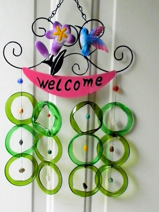 Welcome Blue Hummingbird with Gree Rings - Glass Wind Chimes