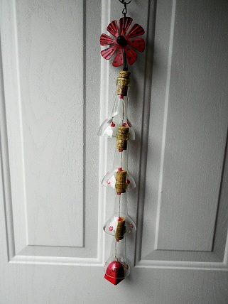 Lady Bug with Clear Bottle Necks - Glass Wind Chimes