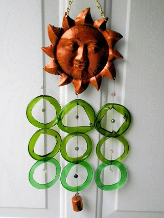 Sun Face with Green Rings and Bell - Glass Wind Chimes