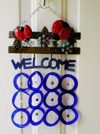 Welcome Red Ladybug with Blue Rings - Glass Wind Chimes