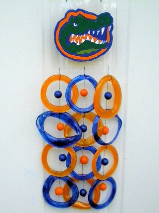 UF Gator with Orange & Blue Rings - Glass Wind Chimes