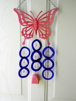 Pink Butterfly with Blue Rings and Pink Bell - Glass Wind Chimes
