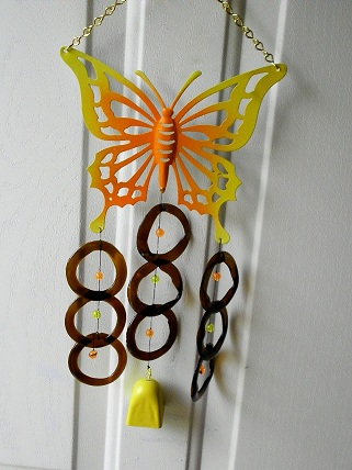 Yellow Butterfly with Brown Rings and Yellow Bell - Glass Wind Chimes