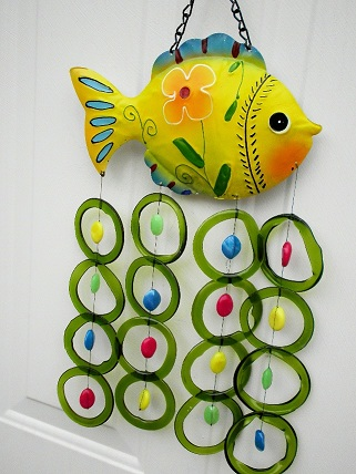 Yellow Fish with Green Rings and Big Beads - Glass Wind Chimes