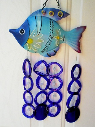Blue Fish with Blue Rings - Glass Wind Chimes