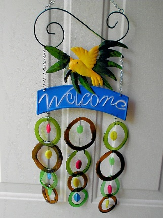Welcome Yellow Bird with Green & Brown Rings and Big Beads - Glass Wind Chimes
