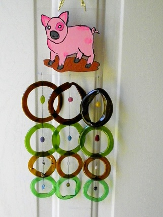Pig with Multi Colored Rings - Glass Wind Chimes