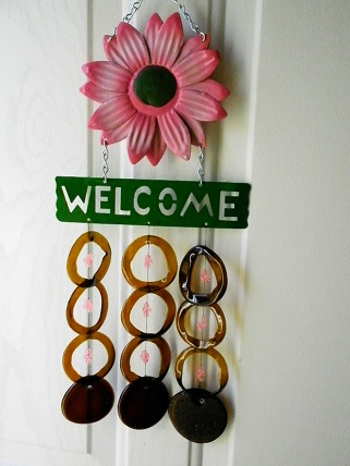 Wecome Pink Flower with Brown Rings - Glass Wind Chimes