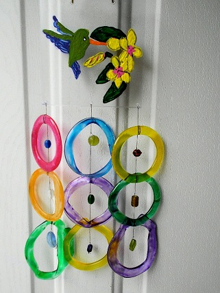 Painted Hummingbird with Multi Colored Rings - Glass Wind Chimes