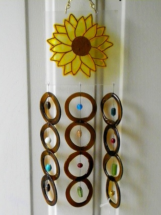Painted Sunflower with Brown Rings - Glass Wind Chimes