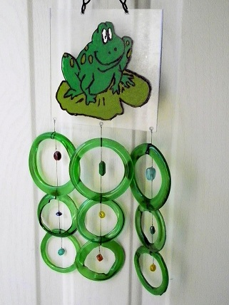 Painted Frog with Green Rings - Glass Wind Chimes