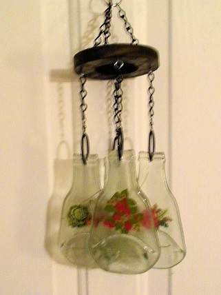 Vegetables on 4 Bottles - Glass Wind Chimes
