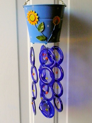 Blue Watering Can with Blue Rings - Glass Wind Chimes