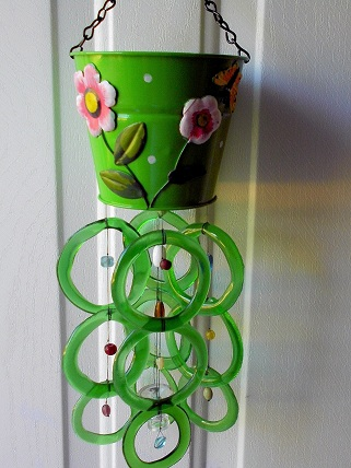 Green Watering Can with Green Rings - Glass Wind Chimes