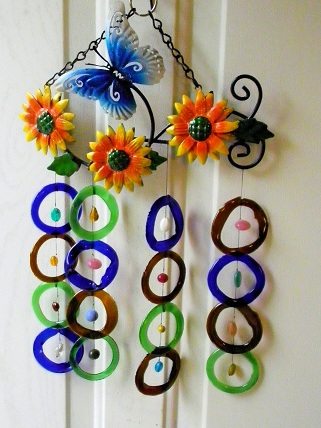 Blue Butterfly & Sunflowers with Multi Colored Rings - Glass Wind Chimes