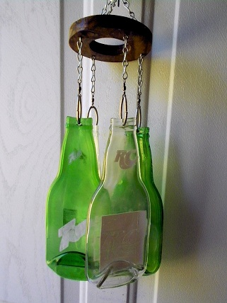 Royal Crown & 7up Bottles - Glass Wind Chimes