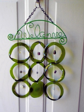 Welcome with Green Rings - Glass Wind Chimes