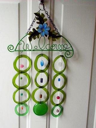 Welcome - Blue Posey with Green Rings - Glass Wind Chimes