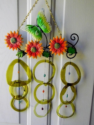 Green Butterfly & Sunflowers with Golden Rings - Glass Wind Chimes