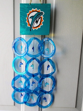 Miami Dolphin with Blue Rings - Glass Wind Chimes