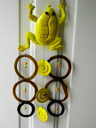 Yellow Frog with Brown Rings - Glass Wind Chimes