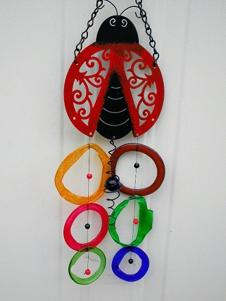 Red & Black Lady Bug with Multi Colored Rings - Glass Wind Chimes