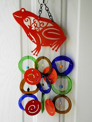 Red Frog with Multi Colored Rings - Glass Wind Chimes