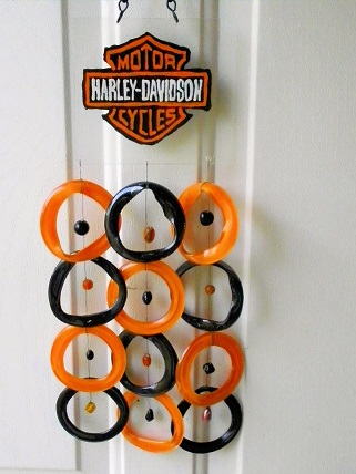 Harley Davidson with Black & Orange Rings - Glass Wind Chimes