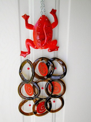 Red Frog with Brown Rings - Glass Wind Chimes