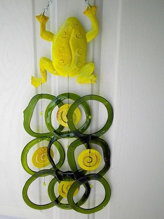 Yellow Frog with Green Rings - Glass Wind Chimes