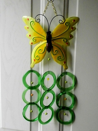 Yellow Butterfly with Green Rings - Glass Wind Chimes
