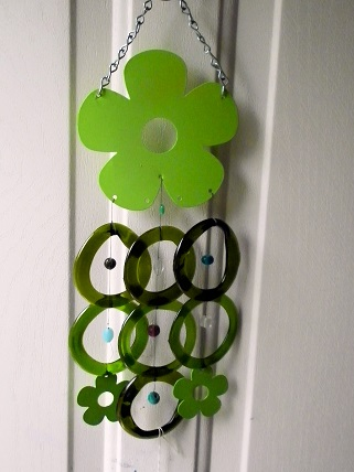 Green Flower with Green Rings - Glass Wind Chimes