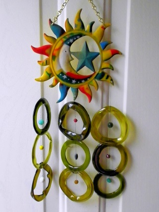 Moon & Stars with Multi Colored Rings - Glass Wind Chimes